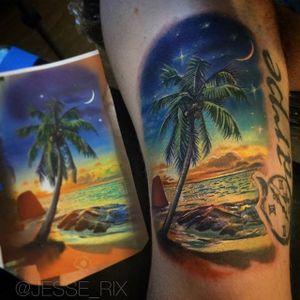 A relaxing scene from a tropical island by Jesse Rix (IG—jesse_rix). #beach #color #JesseRix #landscape #ocean #palmtree #realism