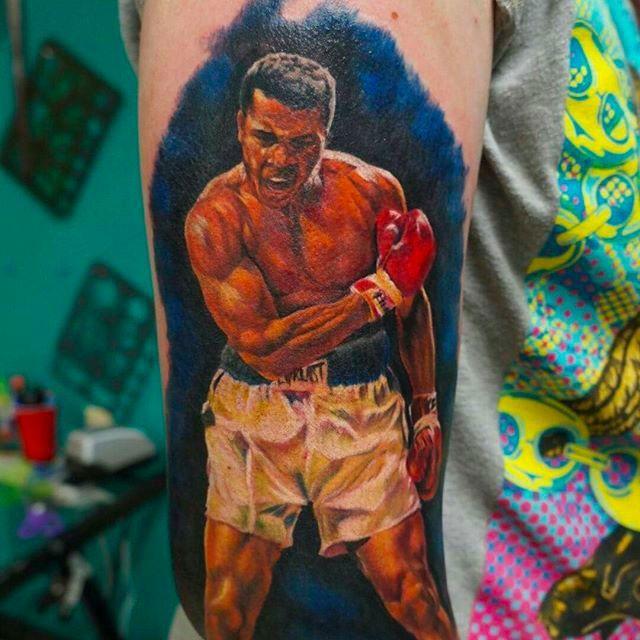 Muhammad Ali Tattoo by Robert Kelley @Bob_The_Butcher1 #RobertKelley #MuhammadAli #MuhammadAliTattoo #CassiusMarcellusClay #CassiusClayTattoo #Tribute #GOAT #TheGreatest #Boxing #Champion