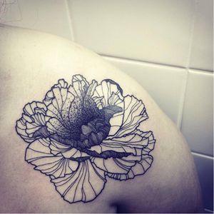 Blackwork flower by GueT Deep #GueTDeep #blackwork #dotwork #flower