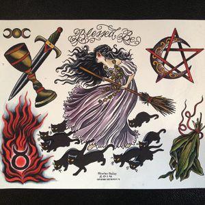 Blessed Be by Heather Bailey (via IG-cathedraloftears) #artist #tattooartist #gothic #flashart #fineart #artshare #HeatherBailey #witch #cat #blackcat #hellfire #pentagram #sage