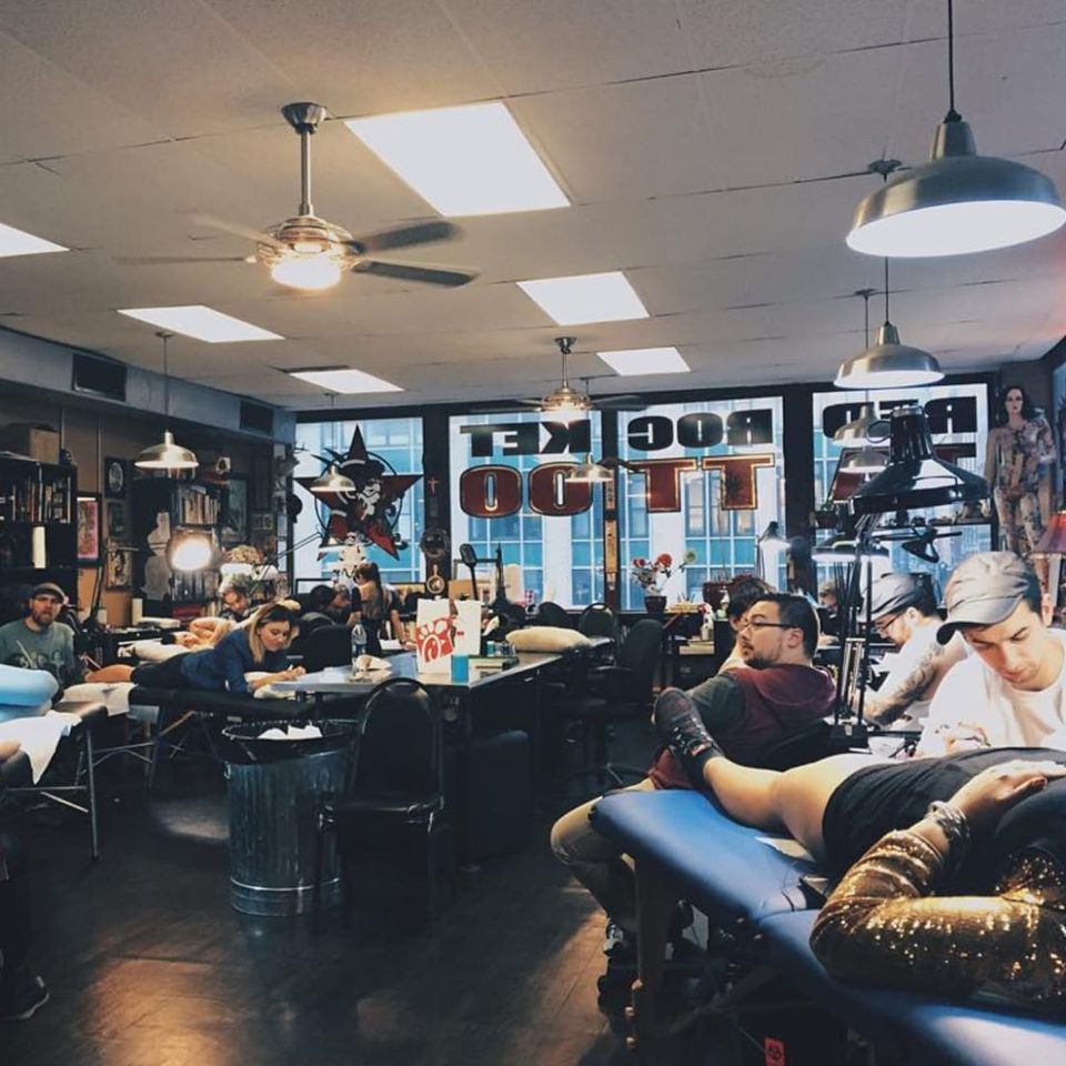 The Red Rocket Tattoo team getting down on a busy day (IG—redrockettattoo). #NYCtattooshops #RedRocketTattoo