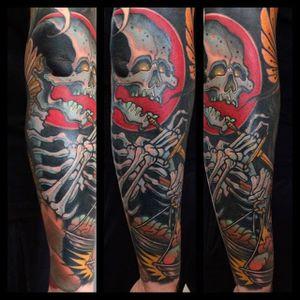 Skeleton Tattoo by Bartosz Panas #skeleton #skeletontattoo #neotraditional #neotraditionaltattoo #neotraditionalartist #polishtattoo #polishartist #BartoszPanas