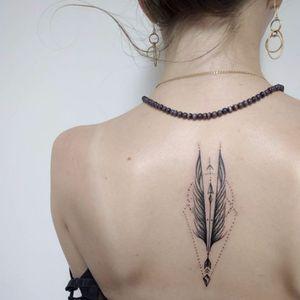 Graphic arrow tattoo by @alisovatattoo #AlisaAlisova #arrow #dotwork #linework #btattooing #blackwork