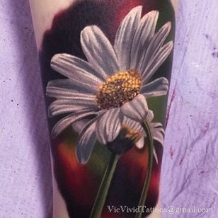 Realistic white daisy tattoo with petals so soft you just want to touch them. Tattoo by Vic Vivid. #realism #colorrealism #flower #daisy #VicVivid