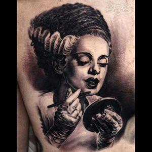 Bride of Frankenstein putting on makeup Tattoo by Javier Antunez @Tattooedtheory #JavierAntunez #Tattooedtheory #Blackandgrey #Realistic #Bride #brideoffrankenstein #portrait