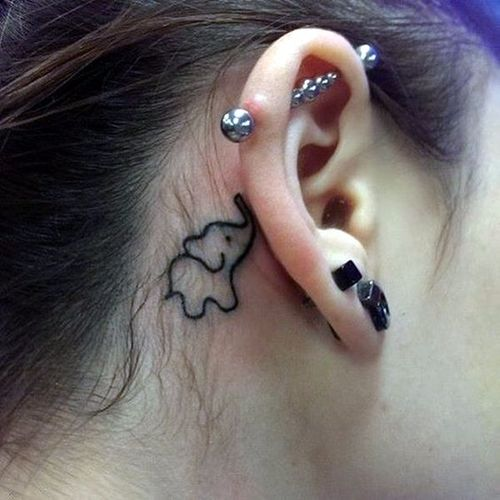 Behind the ear elephant tattoo. Artist unknown #elephant #elephanttattoo #cute #behindtheear #oneline #linework