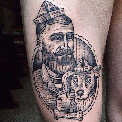 Marinheiro e seu amigo cão #SusanneKonig #Suflanda #blackwork #pontilhismo #dotwork #traditional #tradicional #fineline #gringa #man #homem #cao #dog #cachorro #osso #bone #frame #moldura #marinheiro #sailor #chapeu #hat
