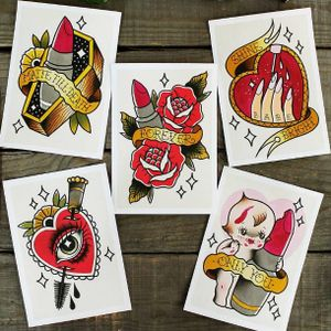 Tattoo prints by Yukitten'me! #Yukittenme #print #flash #kewpie #heart #makeup