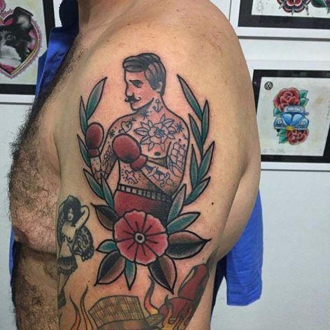 Por Lisandra Siqueira! #LisandraSiqueira #oldschool #traditional #traditionaltattoo #tradicionalamericano #tatuadorasbrasileiras #fighter #lutador #boxe #esporte #sport