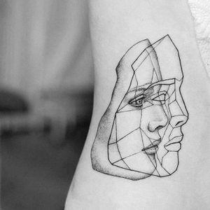 Low poly portrait tattoo by Uls Metzger. #UlsMetzger #dotwork #pointillism #blackwork #face #geometric #lowpoly