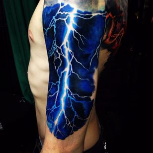 Super cool lightning tattoo done by Martin Kukol. #MartinKukol #realistic #mARTink #lightning #thunder
