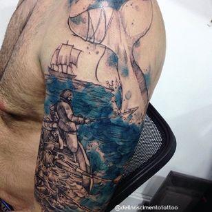 Moby Dick Tattoo by Dell Nascimento #mobydick #watercolor #watercolorartist #contemporary #DellNascimento