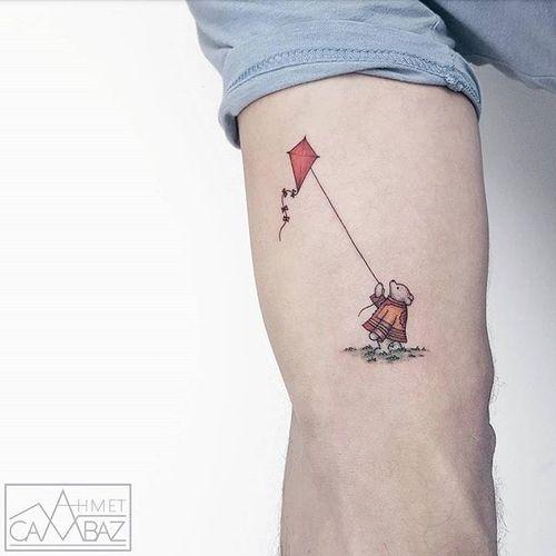 Cute one by Ahmet Cambaz #AhmetCambaz #color #bear #kite #tattoooftheday