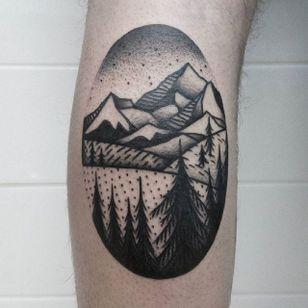 Mountain Tattoo by Jaffa Wane #mountain #mountaintattoo #blackwork #blackworktattoo #blackworkartist #darkart #JaffaWane