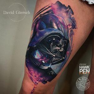 Darth Vader Tattoo by David Giersch #darthvader #darthvadertattoo #watercolor #starwars #watercolortattoo #watercolorrealism #portraitrealism #colorrealism #DavidGiersch