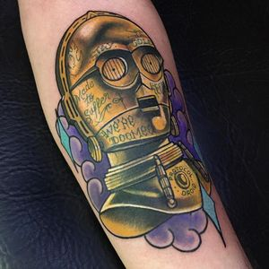 C3PO em neo trad #RodrigoLobão #RodrigoRodrigues #brasil #brazil #tatuadoresdobrasil #brazilianartist #neotrad #neotraditional #c3po #starwars #nerd #geek #robo #robot #droid