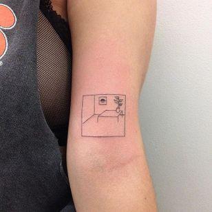 Bordered scene tattoo by René O'Donnell-Gibson. #ReneODonnelGibson #rene #linework #folktraditional #border