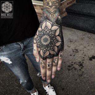 Geometric Pattern Tattoo by Mike Wolf #geometric #patternwork #geometricpattern #blackwork #blackworkpattern #blackgeometry #MikeWolf