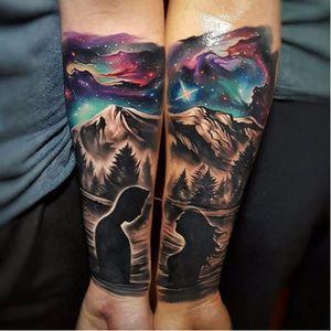 A pair of out-of-this world tattoos. Via Instagram tylermalek #TylerMalek #couplestattoos #matchingtattoos #romantictattoo #surrealtattoo #naturetattoo #spacetattoo #startattoo