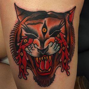 Twisted traditionaltiger tattoo #JoshDavis #traditional #tiger #tigertattoo #traditionalportrait