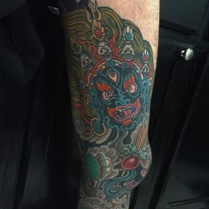Mahakala Tattoo by Ross Vinstein #mahakala #mahakalatattoo #mahakalatattoos #kali #hindu #hindutattoo #deity #deitytattoo #RossVinstein