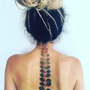 Leaves on the Spine Tattoo by Pis Saro @Pissaro_tattoo #PisSaro #PisSaroTattoo #Nature #Watercolor #Naturetattoo #Watercolortattoo #Botanical #Botanicaltattoo #Crimea #Russia