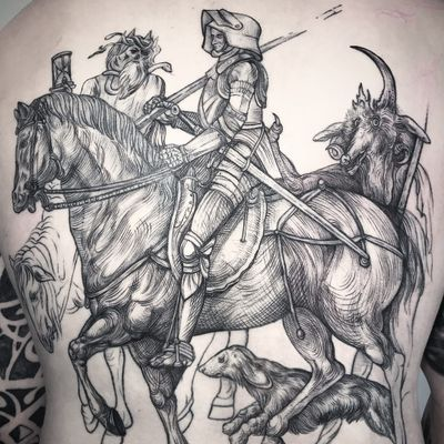 The Wandering Soldier tattoo by Les Crow #lescrowtattoo #lescrow #horsetattoos #illustrative #linework #engraving #etching #medieval #horse #soldier #dog #creature #death #serpent #hourglass #backpiece