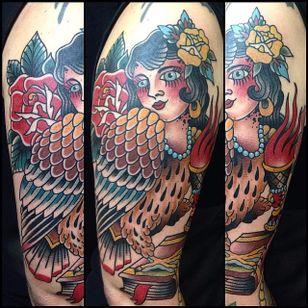Harpy Tattoo by Carlos Perez #Harpy #Harpies #HarpyTattoo #MythologyTattoos #GreekTattoos #MythTattoos #Traditional #CarlosPerez