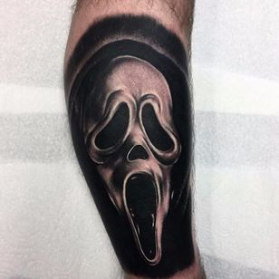 "A very dark portrait of Ghostface by Kyle ""Egg"" Williams (IG—egg_ink). #blackandgrey #Ghostface #KyleEggWilliams #portraiture #Scream"