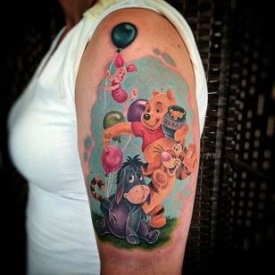 'Winnie the Pooh' tattoo by Nancy Mietzi. #eeyore #tiger #piglet #winniethepooh #pooh #poohbear #nostalgia #children #tvshow #cartoon #book #NancyMietzi