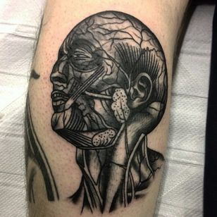 Anatomical Head Tattoo by Lewis Parkin #anatomical #anatomicalhead #anatomy #scientific #LewisParkin #blackandgrey