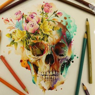 #caveira #skull #flores #flowers #aquarela #watercolor #vareta #ilustradorvareta #coloridos #brasil #brazil #portugues #portuguese #desenhos #drawing