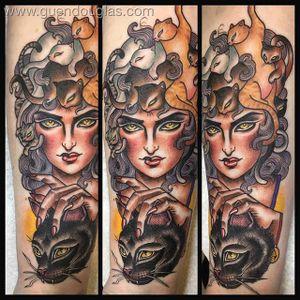 Cat Lady by @Guen_Douglas (via IG-guendouglas) #cat #catlady #woman #ladyhead #neotraditional #color #GuenDouglas #girlsgirlsgirls