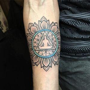 Mandala Tattoo by Blayne Bius #mandala #meditation #contemporary #bold #colorful #BlayneBius