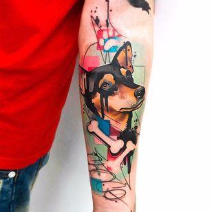 Por Dynoz #DynozArtAttack #gringo #abstract #abstract #colorido #colorful #aquarela #watercolor #cao #cachorro #dog #doglover #pet #petlover #osso #bones #geometric #geometrica