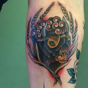 Buffalo Tattoo by Ryan Sherwood #Buffalo #BuffaloTattoo #Bison #AmericanTraditional #Traditional #RyanSherwood