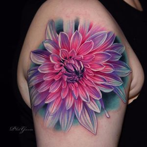 Vibrant Dahlia by Phil Garcia #PhilGarcia #realism #realistic #hyperrealism #color #Dahlia #flower #fluorescent #nature #tattoooftheday