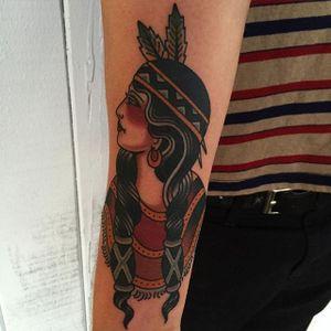 Native American Girl Tattoo by Drake Sheehan #nativeamericangirl #traditional #traditionalartist #oldschool #boldwillhold #DrakeSheehan