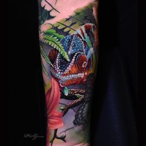 Chameleon by Phil Garcia #PhilGarcia #color #realism #chameleon #tattoooftheday