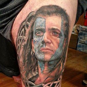 Braveheart Tattoo by Sarah Miller #Braveheart #BraveheartTattoo #MelGibson as #WilliamWallace #Portrait #MoviePortraits #SarahMiller