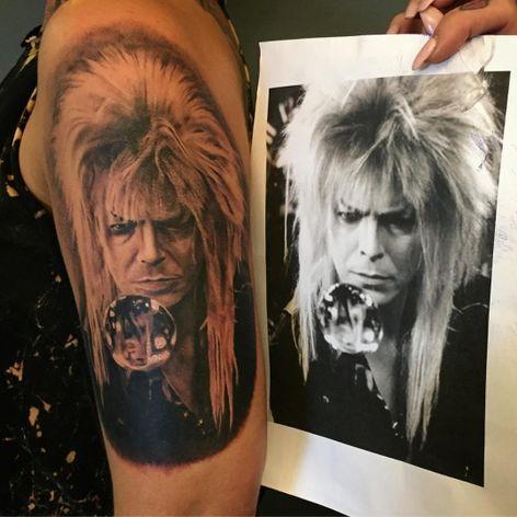 A black and grey portrait of David Bowie as Jareth, the Goblin King, by Ruby Elliot (IG—_ruby__tuesday_). #DavidBowie #Labyrinth #portraiture #realism #RubyElliot #TheGoblinKing