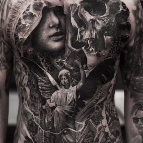 Heaven and hell are one by Joey Boon #JoeyBoon #blackandgrey #realism #realistic #hyperrealism #skull #death #angel #cross #religious #cathedral #stainedglass #virginmary #wings #church #heaven #tattoooftheday