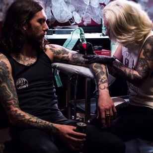 Megan at work at Grit N Glory. Who knows, maybe you'll be sitting in this chair pretty soon! #MeganMassacre #tattooartist #tattoomodel #nyink #realitytv #megandreamtattoo #meganmassacrecontest #meganmassacretattoo