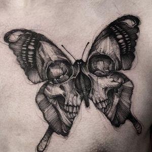 Intense black and grey skull-winged butterfly (IG—bk_tattooer). #blackandgrey #butterfly #skull