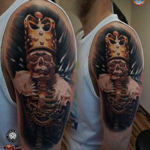 Skeleton King tattoo by James Artink. #king #crown #skeleton #skeletonking #realism #colorrealism #JamesArtink