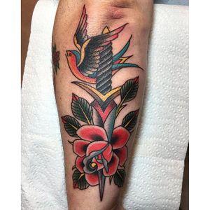 Dagger through roses, by Clinton Lee #ClintonLee #daggerthroughtattoo #stabbingdaggertattoo #bird #rose #dagger