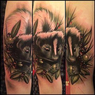 Skunk Tattoo by Aimee Cornwell #Skunk #SkunkTattoo #AnimalTattoo #WildlifeTattoos #AimeeCornwell