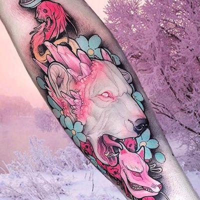 Neo-traditional albino bear tattoo by Brando Chiesa. #BrandoChiesa #neotraditional #albino #creature #animals #pastel #japanese #cherryblossom #bear #crystal #gore