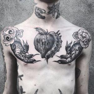 Mudra tattoo by Veks Van Hillik #VeksVanHillik #blackwork #surrealistic #graphic #mudra #apple #seashell