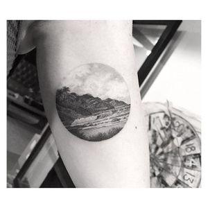 Mountain and beach tattoo by Dr. Woo. #DrWoo #fineline #blackandgrey #dotwork #landscape #circle #nature #contemporary #beautiful #modern #beach #mountain